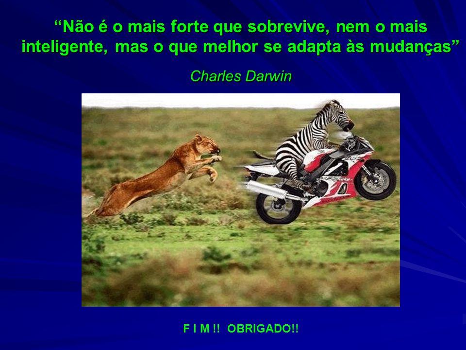 Não é o mais forte que sobrevive, nem o mais inteligente, mas o que melhor se adapta às mudanças Charles Darwin F I M !.