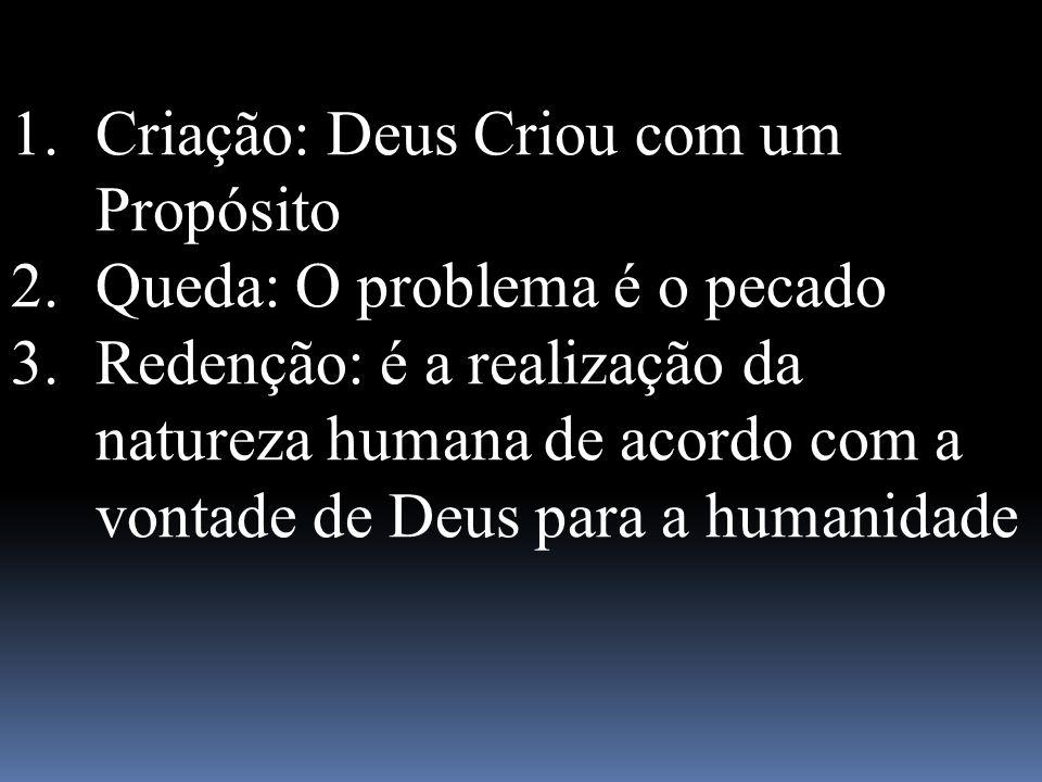 1.Criação: Deus Criou com um Propósito 2.Queda: O problema é o pecado 3.Redenção: é a realização da natureza humana de acordo com a vontade de Deus pa