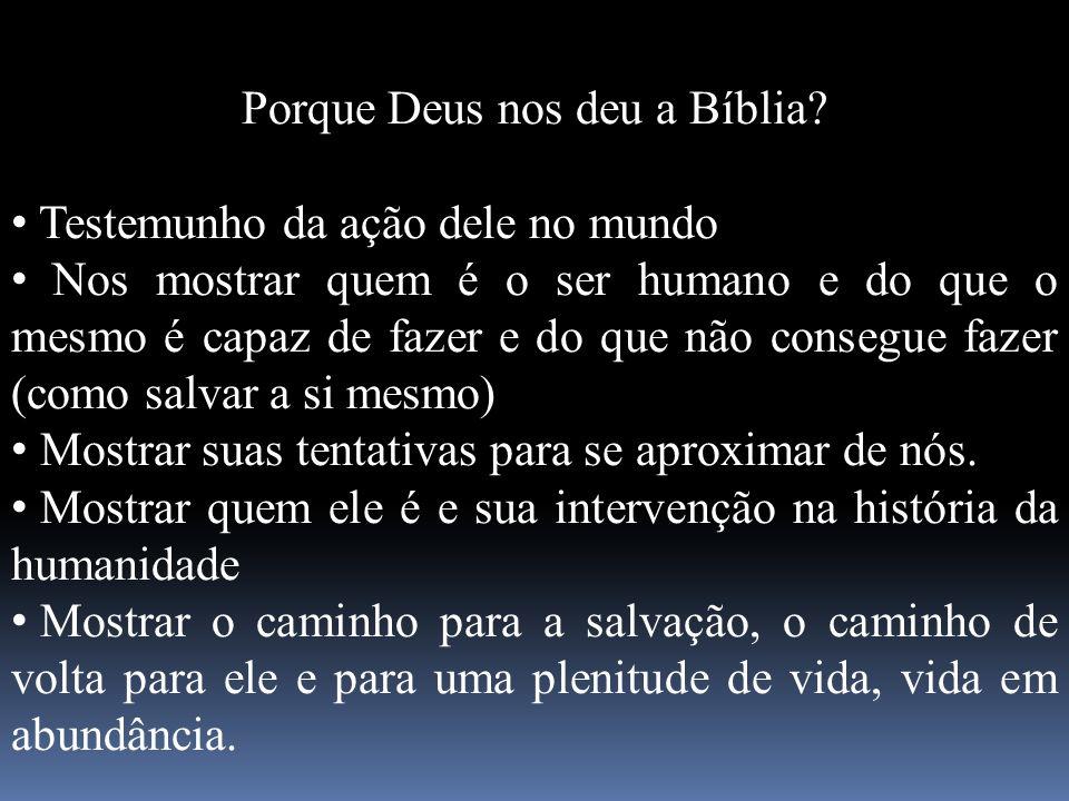Porque Deus nos deu a Bíblia? Testemunho da ação dele no mundo Nos mostrar quem é o ser humano e do que o mesmo é capaz de fazer e do que não consegue