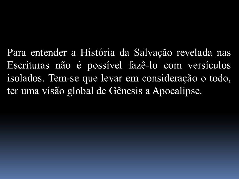 Para entender a História da Salvação revelada nas Escrituras não é possível fazê-lo com versículos isolados. Tem-se que levar em consideração o todo,