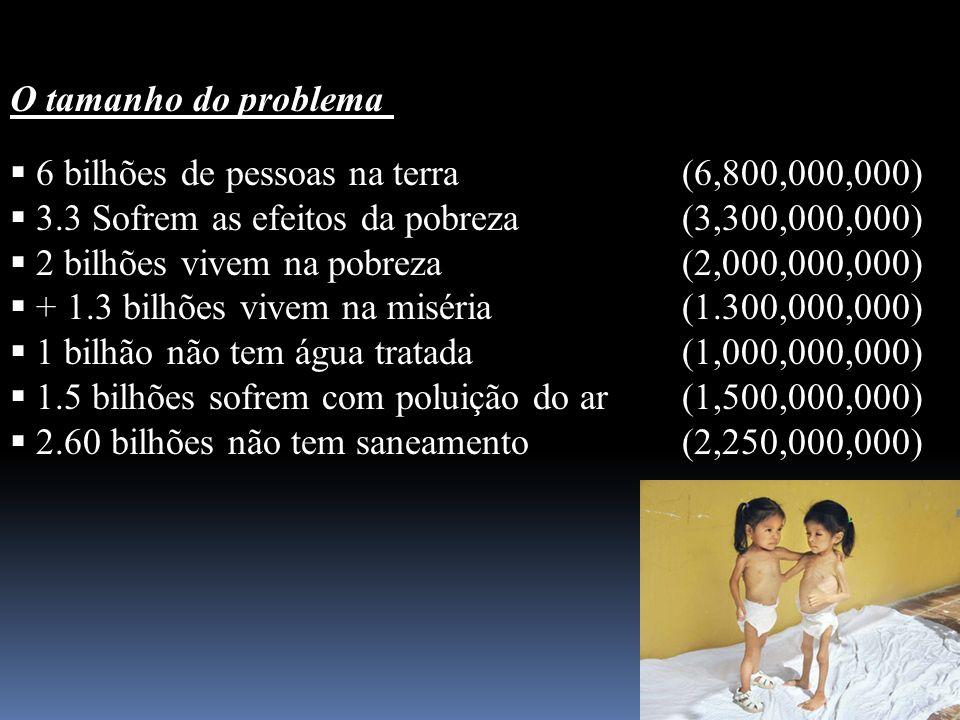 O tamanho do problema 6 bilhões de pessoas na terra(6,800,000,000) 3.3 Sofrem as efeitos da pobreza(3,300,000,000) 2 bilhões vivem na pobreza(2,000,00