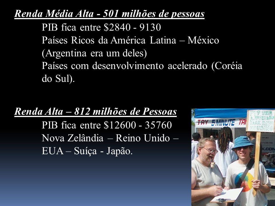Renda Média Alta - 501 milhões de pessoas PIB fica entre $2840 - 9130 Países Ricos da América Latina – México (Argentina era um deles) Países com dese
