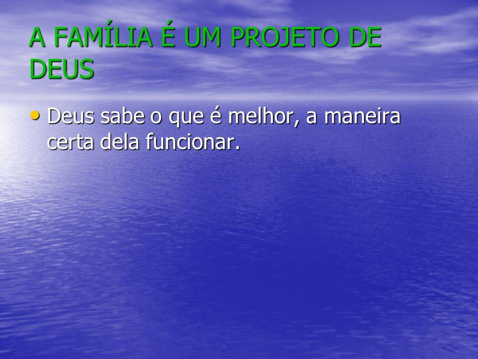 A FAMÍLIA É UM PROJETO DE DEUS Deus sabe o que é melhor, a maneira certa dela funcionar.