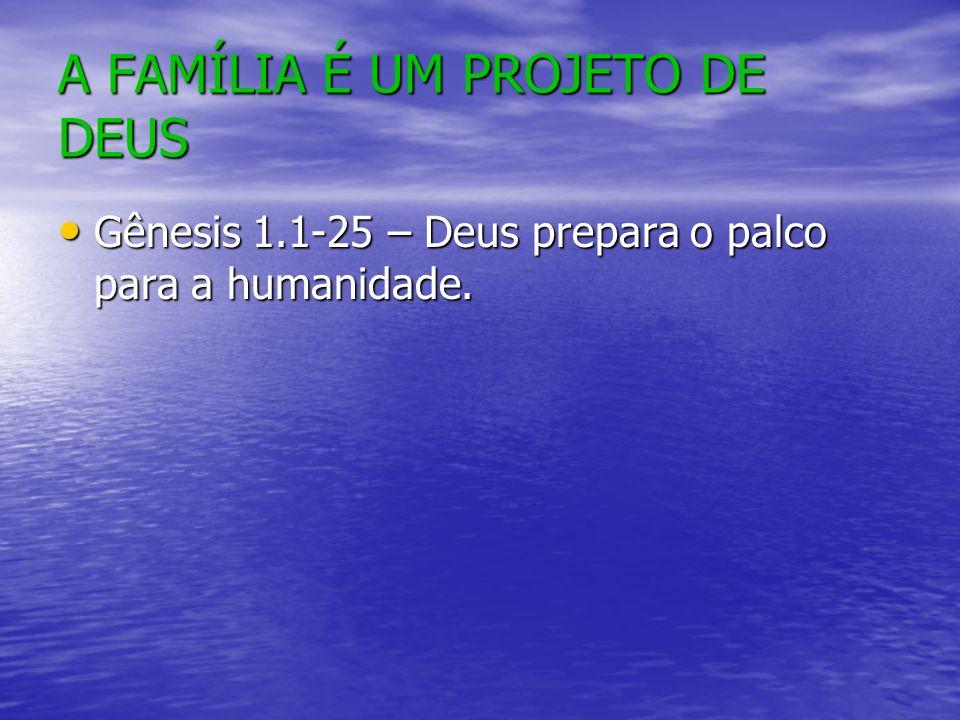 A FAMÍLIA É UM PROJETO DE DEUS Gênesis 1.1-25 – Deus prepara o palco para a humanidade.