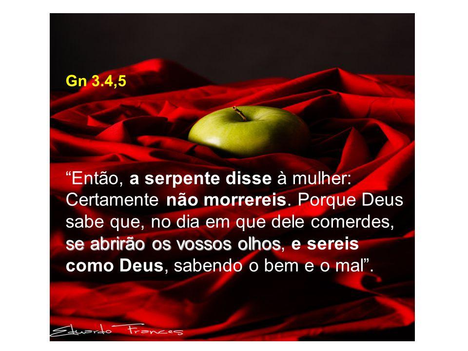 Gn 3.4,5 se abrirão os vossos olhos Então, a serpente disse à mulher: Certamente não morrereis.