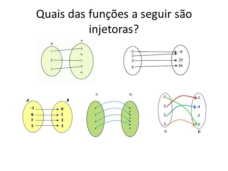 Quais das funções a seguir são injetoras?