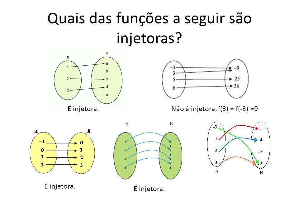Quais das funções a seguir são injetoras? É injetora.Não é injetora, f(3) = f(-3) =9 É injetora.