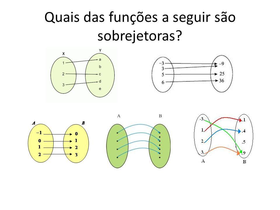 Quais das funções a seguir são sobrejetoras?