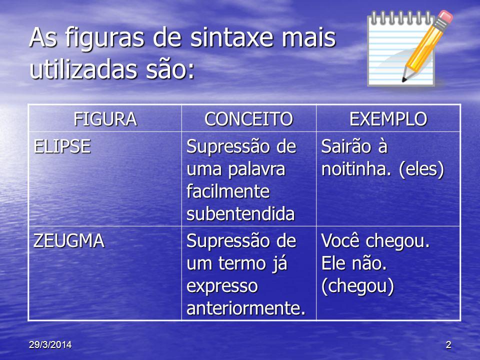 As figuras de sintaxe mais utilizadas são: FIGURACONCEITOEXEMPLO ELIPSE Supressão de uma palavra facilmente subentendida Sairão à noitinha. (eles) ZEU