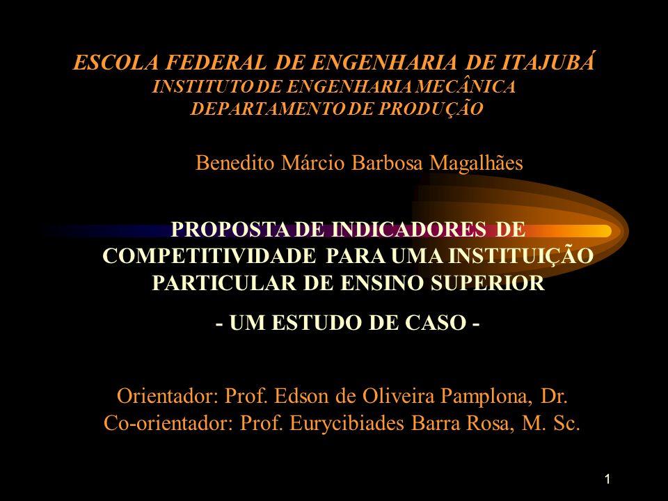 1 ESCOLA FEDERAL DE ENGENHARIA DE ITAJUBÁ INSTITUTO DE ENGENHARIA MECÂNICA DEPARTAMENTO DE PRODUÇÃO PROPOSTA DE INDICADORES DE COMPETITIVIDADE PARA UMA INSTITUIÇÃO PARTICULAR DE ENSINO SUPERIOR - UM ESTUDO DE CASO - Benedito Márcio Barbosa Magalhães Orientador: Prof.