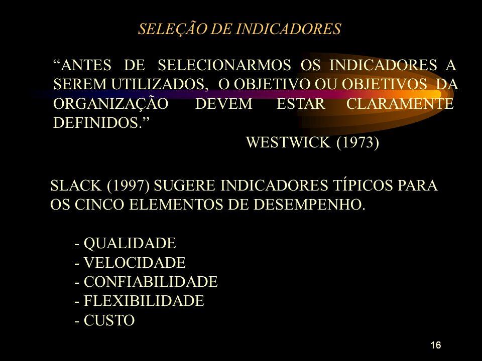 16 SELEÇÃO DE INDICADORES ANTES DE SELECIONARMOS OS INDICADORES A SEREM UTILIZADOS, O OBJETIVO OU OBJETIVOS DA ORGANIZAÇÃO DEVEM ESTAR CLARAMENTE DEFINIDOS.