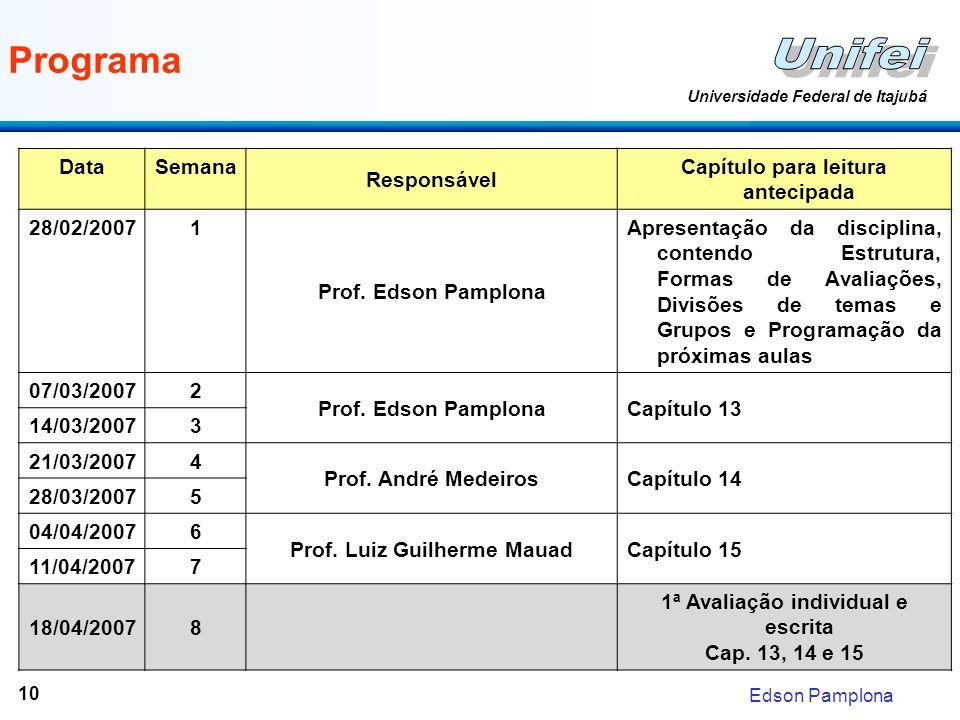 Edson Pamplona Universidade Federal de Itajubá 10 Programa DataSemana Responsável Capítulo para leitura antecipada 28/02/20071 Prof. Edson Pamplona Ap