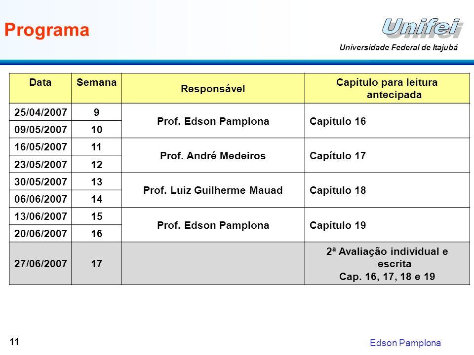 Edson Pamplona Universidade Federal de Itajubá 11 Programa DataSemana Responsável Capítulo para leitura antecipada 25/04/20079 Prof.