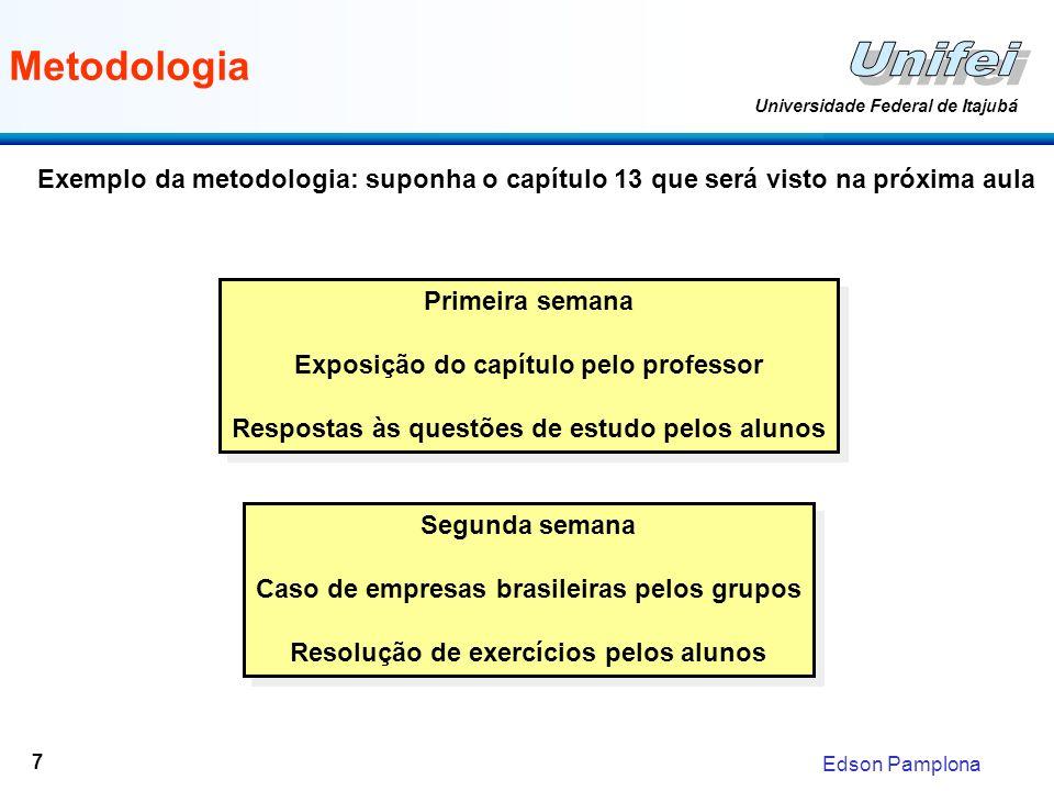 Edson Pamplona Universidade Federal de Itajubá 7 Metodologia Primeira semana Exposição do capítulo pelo professor Respostas às questões de estudo pelo