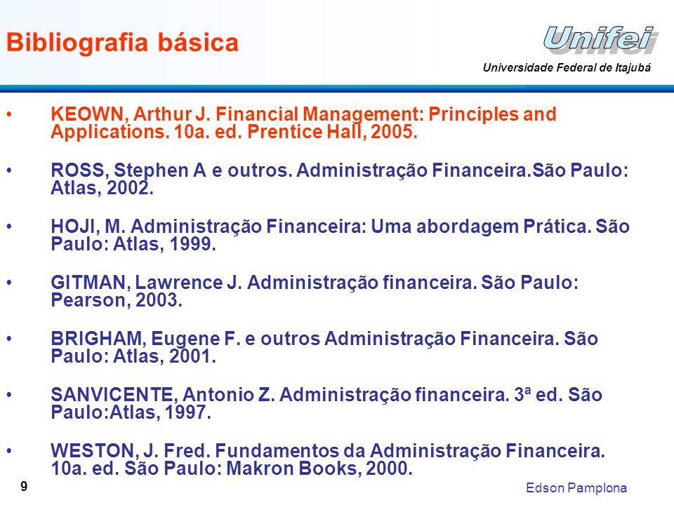 Edson Pamplona Universidade Federal de Itajubá 10 Programa DataSemana Responsável Capítulo para leitura antecipada 28/02/20071 Prof.