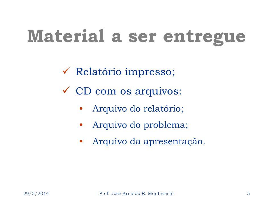 29/3/2014Prof. José Arnaldo B. Montevechi5 Material a ser entregue Relatório impresso; CD com os arquivos: Arquivo do relatório; Arquivo do problema;