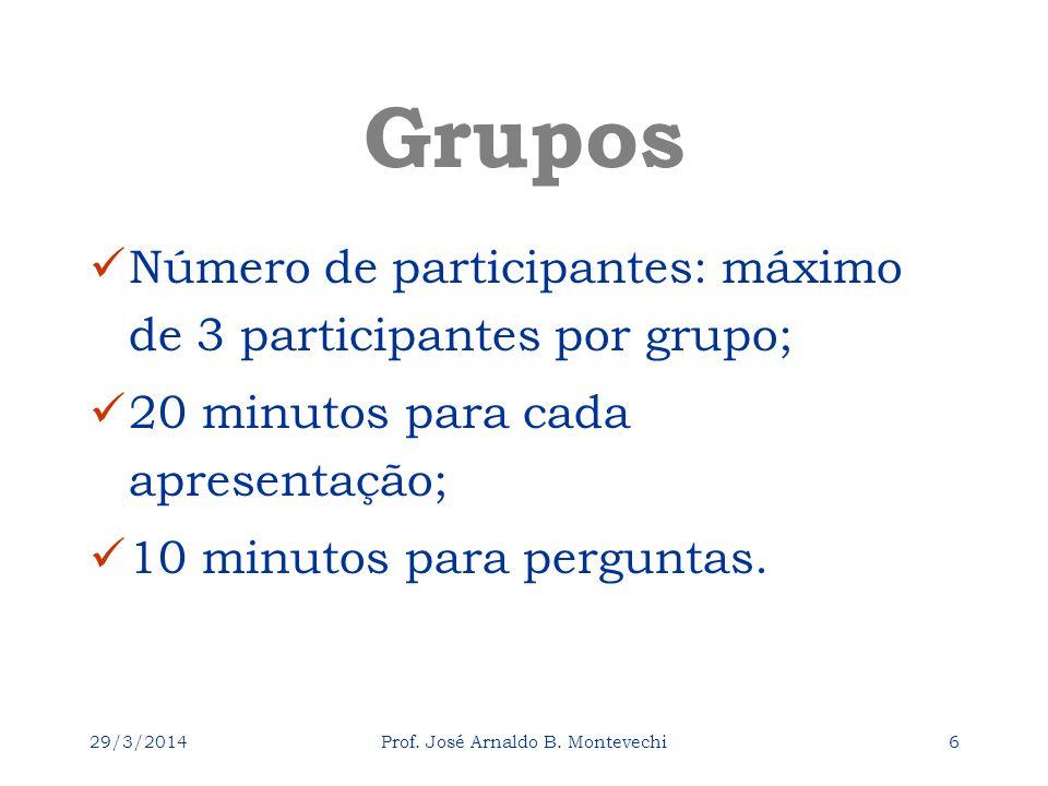 29/3/2014Prof. José Arnaldo B. Montevechi6 Grupos Número de participantes: máximo de 3 participantes por grupo; 20 minutos para cada apresentação; 10
