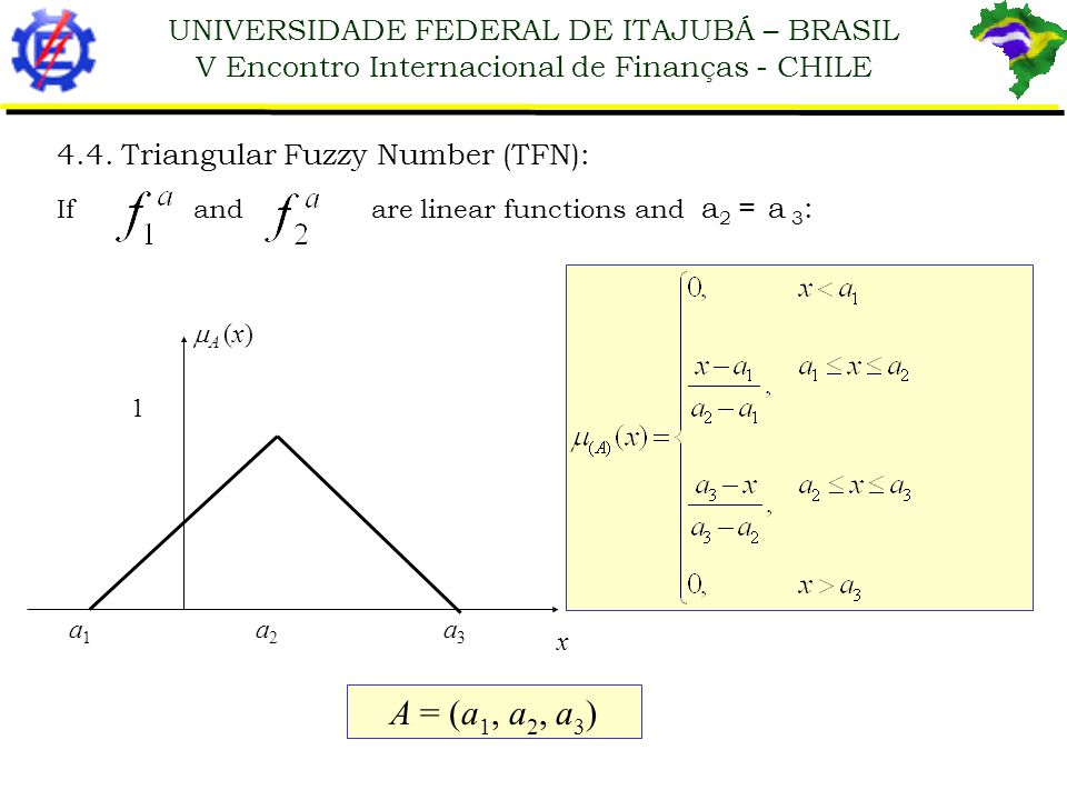 UNIVERSIDADE FEDERAL DE ITAJUBÁ – BRASIL V Encontro Internacional de Finanças - CHILE 4.4. Triangular Fuzzy Number (TFN): If and are linear functions