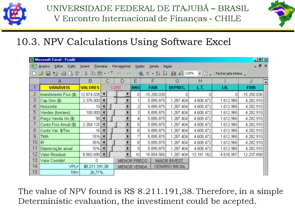 UNIVERSIDADE FEDERAL DE ITAJUBÁ – BRASIL V Encontro Internacional de Finanças - CHILE The value of NPV found is R$ 8.211.191,38. Therefore, in a simpl