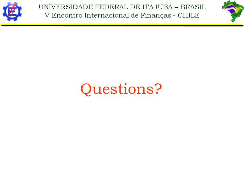 UNIVERSIDADE FEDERAL DE ITAJUBÁ – BRASIL V Encontro Internacional de Finanças - CHILE Questions?