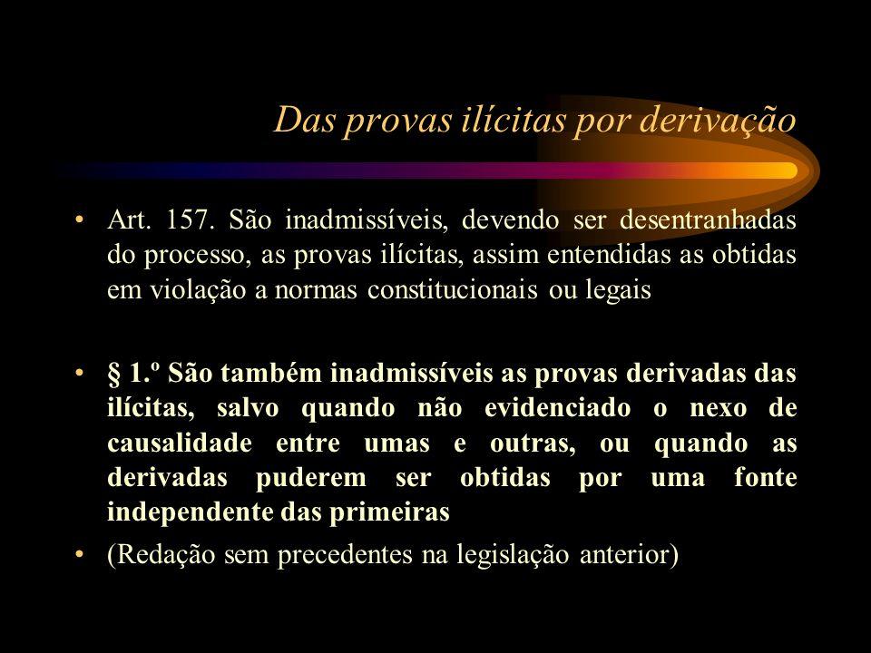 Das provas ilícitas por derivação Art. 157. São inadmissíveis, devendo ser desentranhadas do processo, as provas ilícitas, assim entendidas as obtidas