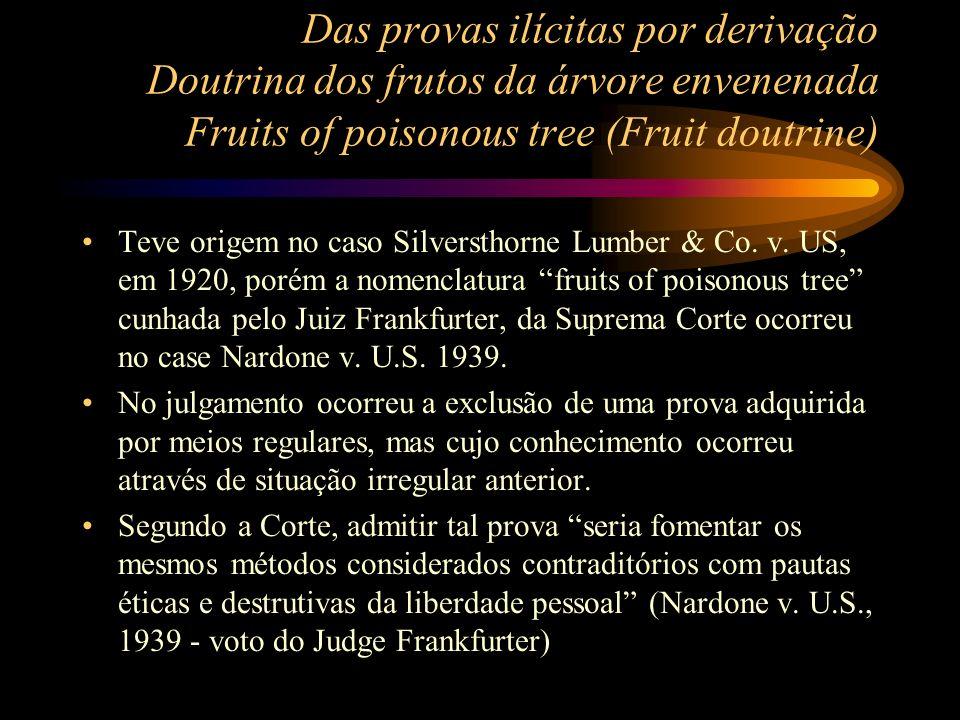 Das provas ilícitas por derivação Doutrina dos frutos da árvore envenenada Fruits of poisonous tree (Fruit doutrine) Teve origem no caso Silversthorne
