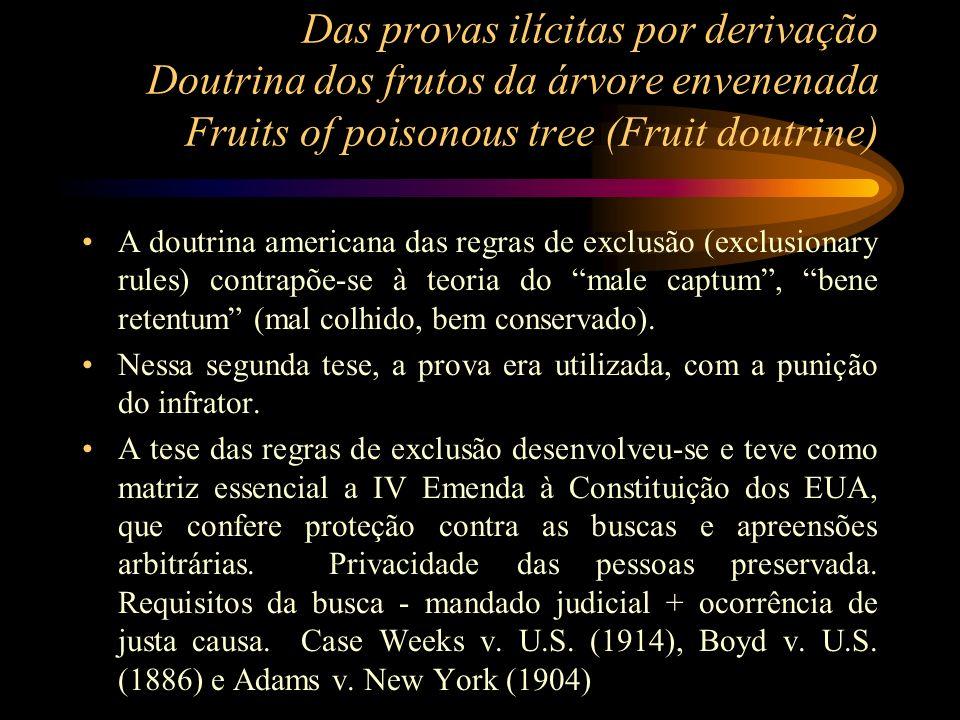 Das provas ilícitas por derivação Doutrina dos frutos da árvore envenenada Fruits of poisonous tree (Fruit doutrine) A doutrina americana das regras d