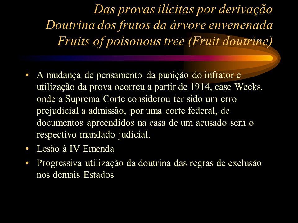 Das provas ilícitas por derivação Doutrina dos frutos da árvore envenenada Fruits of poisonous tree (Fruit doutrine) A mudança de pensamento da puniçã