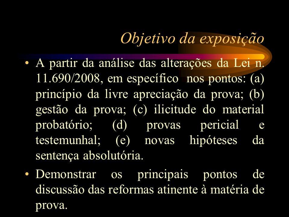 Objetivo da exposição A partir da análise das alterações da Lei n. 11.690/2008, em específico nos pontos: (a) princípio da livre apreciação da prova;