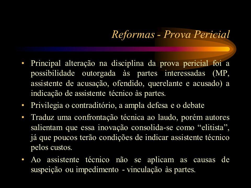 Reformas - Prova Pericial Principal alteração na disciplina da prova pericial foi a possibilidade outorgada às partes interessadas (MP, assistente de