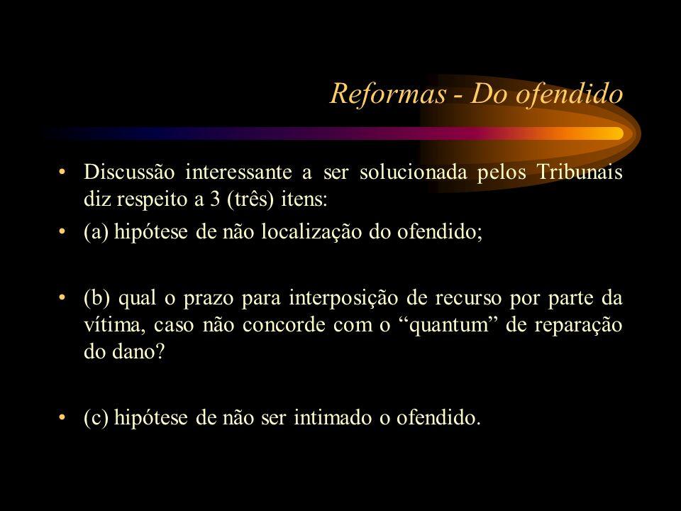 Reformas - Do ofendido Discussão interessante a ser solucionada pelos Tribunais diz respeito a 3 (três) itens: (a) hipótese de não localização do ofen