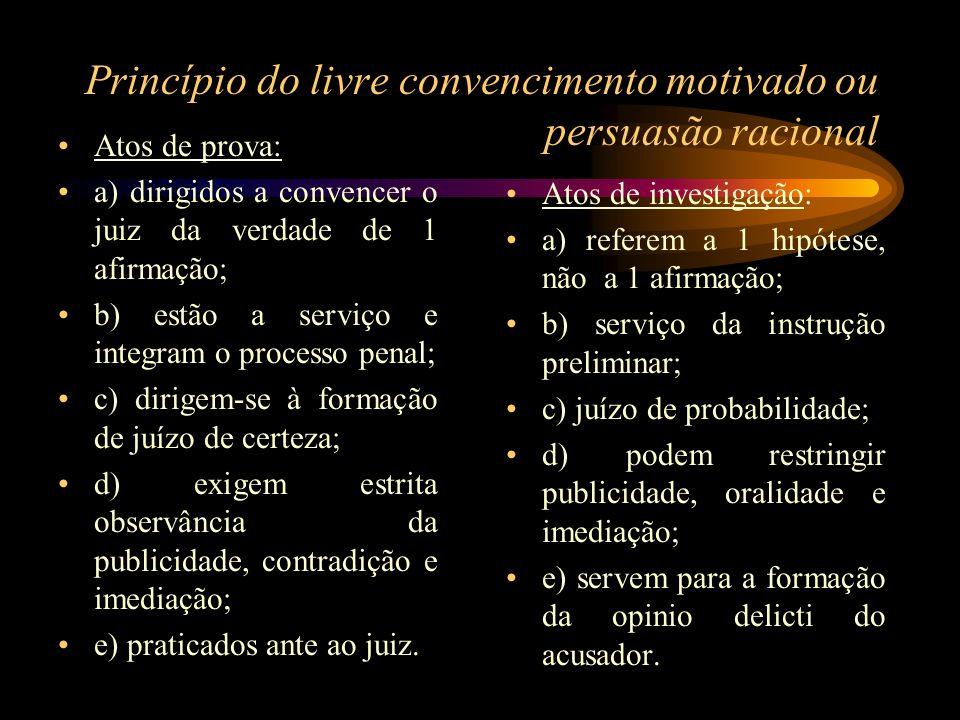 Princípio do livre convencimento motivado ou persuasão racional Atos de prova: a) dirigidos a convencer o juiz da verdade de 1 afirmação; b) estão a s
