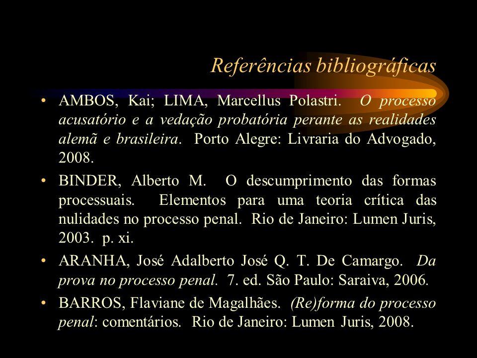 Referências bibliográficas AMBOS, Kai; LIMA, Marcellus Polastri. O processo acusatório e a vedação probatória perante as realidades alemã e brasileira