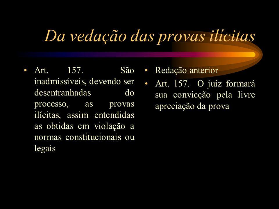 Da vedação das provas ilícitas Art. 157. São inadmissíveis, devendo ser desentranhadas do processo, as provas ilícitas, assim entendidas as obtidas em