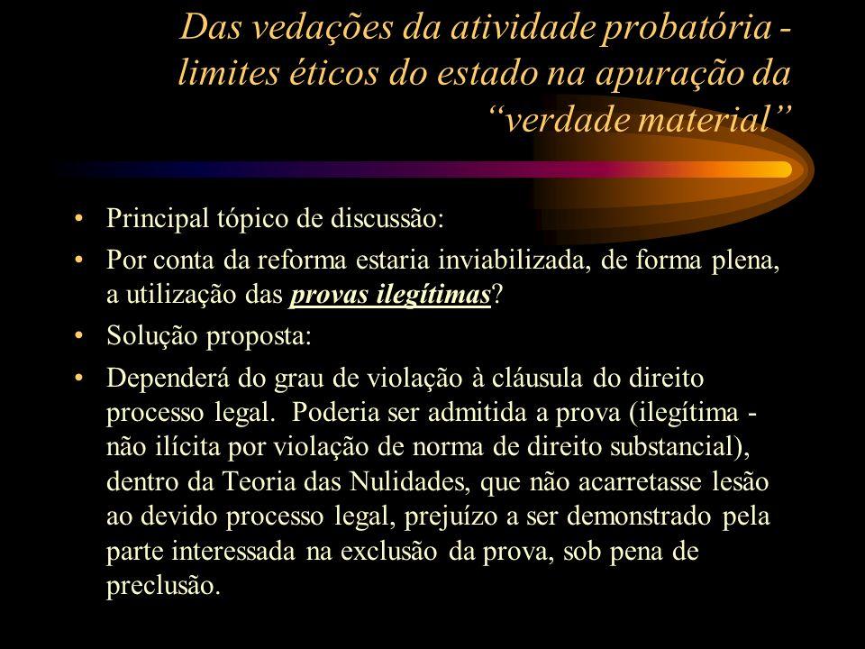 Das vedações da atividade probatória - limites éticos do estado na apuração da verdade material Principal tópico de discussão: Por conta da reforma es