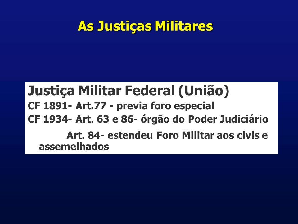As Justiças Militares Justiça Militar Federal (União) CF 1891- Art.77 - previa foro especial CF 1934- Art.