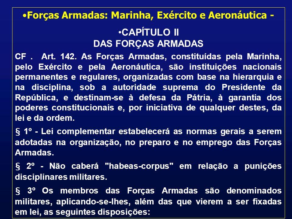 Forças Armadas: Marinha, Exército e Aeronáutica - CAPÍTULO II DAS FORÇAS ARMADAS CF.