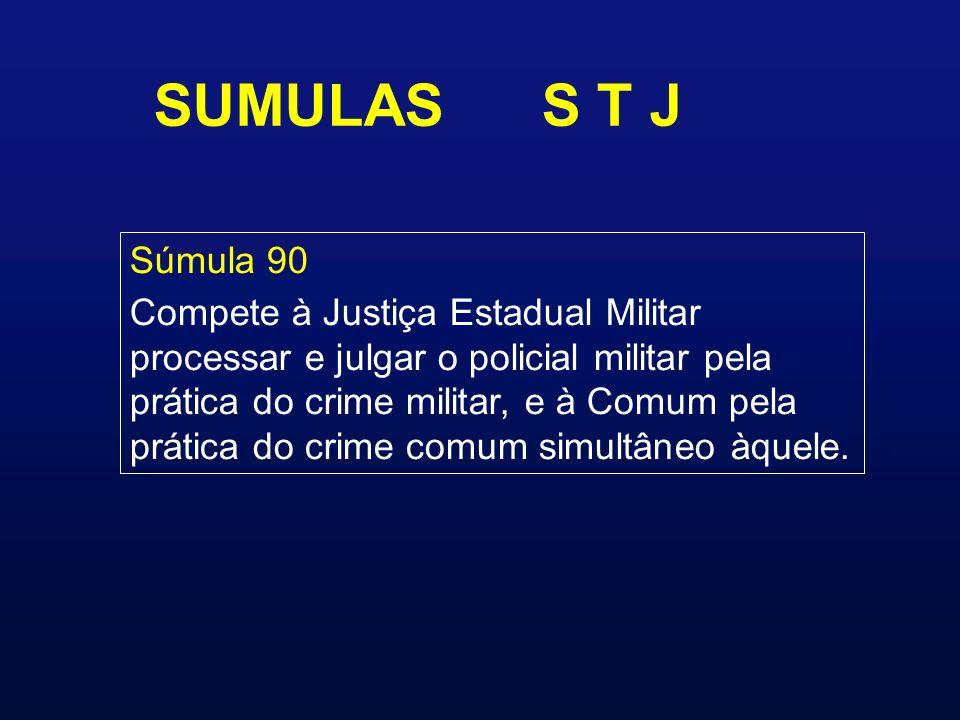 SUMULAS S T J Súmula 90 Compete à Justiça Estadual Militar processar e julgar o policial militar pela prática do crime militar, e à Comum pela prática do crime comum simultâneo àquele.