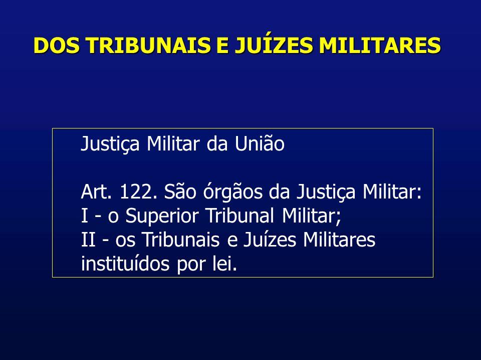 DOS TRIBUNAIS E JUÍZES MILITARES Justiça Militar da União Art.