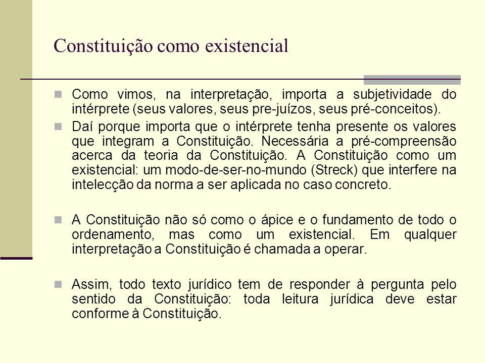 Constituição como existencial Como vimos, na interpretação, importa a subjetividade do intérprete (seus valores, seus pre-juízos, seus pré-conceitos).