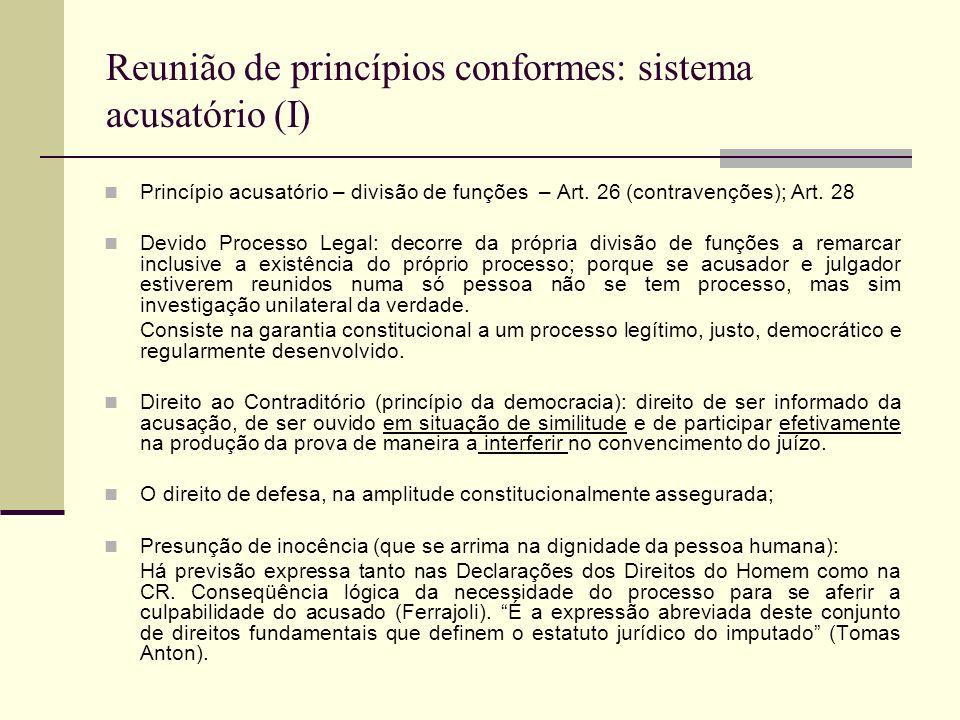 Reunião de princípios conformes: sistema acusatório (I) Princípio acusatório – divisão de funções – Art.