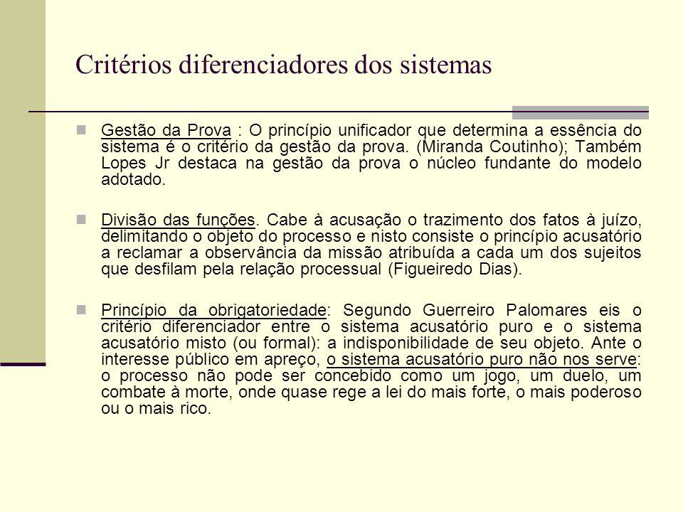 Critérios diferenciadores dos sistemas Gestão da Prova : O princípio unificador que determina a essência do sistema é o critério da gestão da prova.