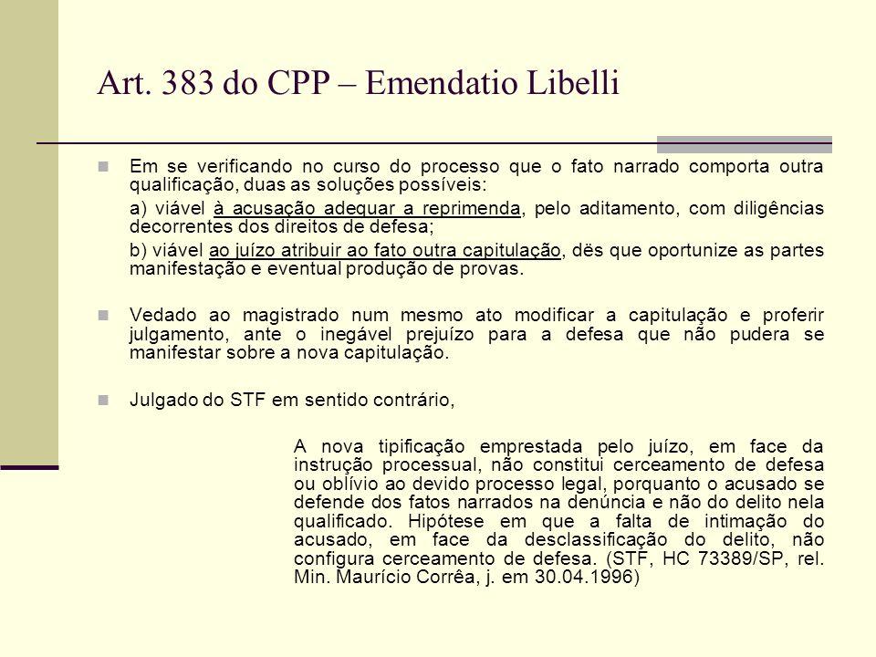 Art. 383 do CPP – Emendatio Libelli Em se verificando no curso do processo que o fato narrado comporta outra qualificação, duas as soluções possíveis: