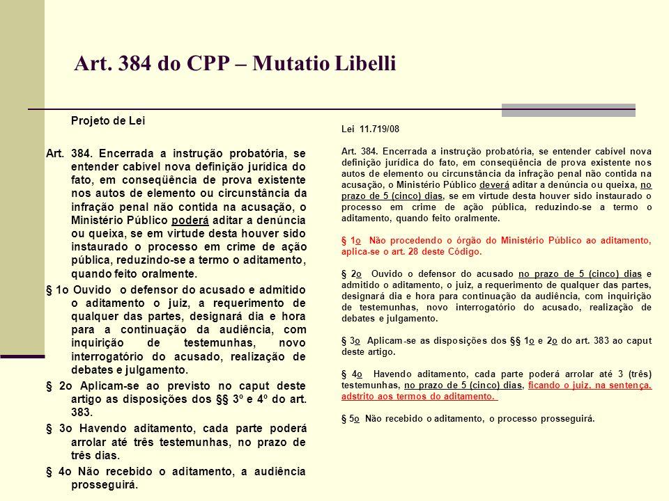Art.384 do CPP – Mutatio Libelli Projeto de Lei Art.