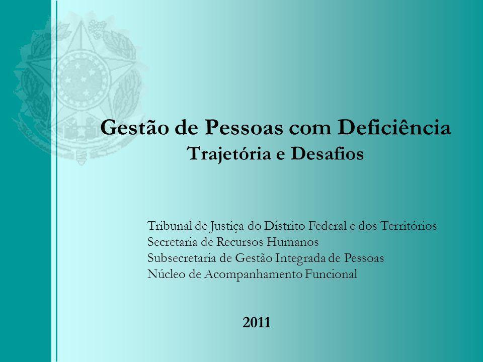 Gestão de Pessoas com Deficiência Trajetória e Desafios Tribunal de Justiça do Distrito Federal e dos Territórios Secretaria de Recursos Humanos Subsecretaria de Gestão Integrada de Pessoas Núcleo de Acompanhamento Funcional 2011