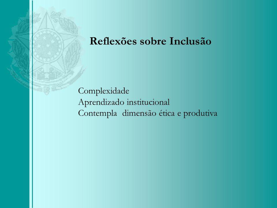 Reflexões sobre Inclusão Complexidade Aprendizado institucional Contempla dimensão ética e produtiva
