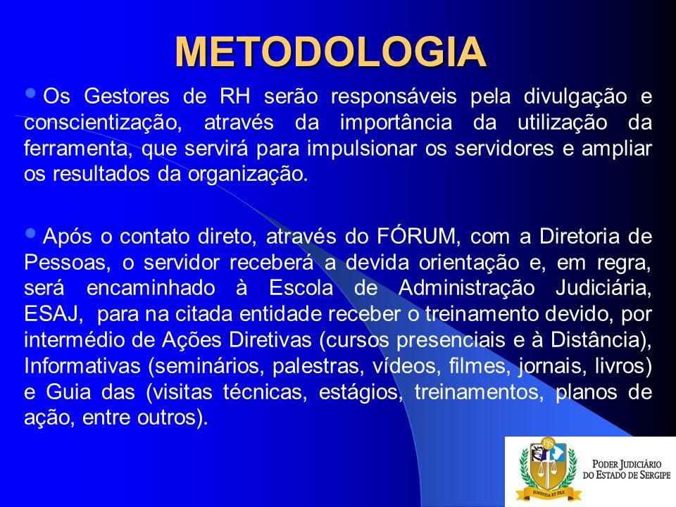 METODOLOGIA Os Gestores de RH serão responsáveis pela divulgação e conscientização, através da importância da utilização da ferramenta, que servirá pa