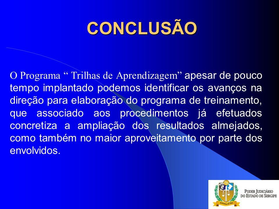 CONCLUSÃO O Programa Trilhas de Aprendizagem apesar de pouco tempo implantado podemos identificar os avanços na direção para elaboração do programa de
