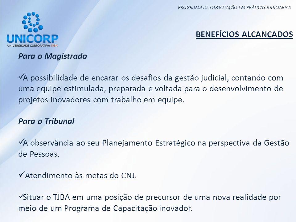 PROGRAMA DE CAPACITAÇÃO EM PRÁTICAS JUDICIÁRIAS BENEFÍCIOS ALCANÇADOS Para o Magistrado A possibilidade de encarar os desafios da gestão judicial, con