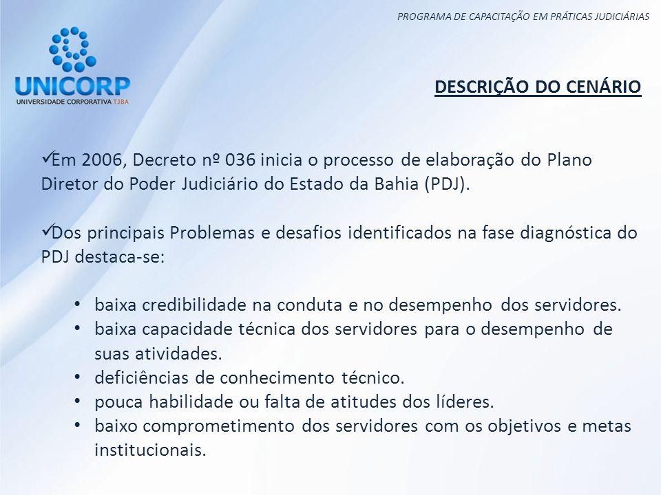 PROGRAMA DE CAPACITAÇÃO EM PRÁTICAS JUDICIÁRIAS DESCRIÇÃO DO CENÁRIO Em 2006, Decreto nº 036 inicia o processo de elaboração do Plano Diretor do Poder Judiciário do Estado da Bahia (PDJ).